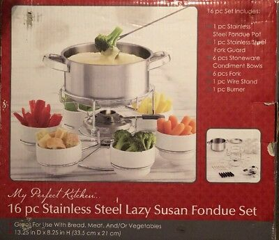 16PC MY PERFECT KITCHEN STAINLESS STEEL LAZY SUSAN FONDUE SET ~Serves 6~