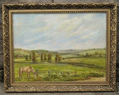 Vintage Oil on Board PAINTING Horses in the Countryside, Signed G .Rose  ref.174