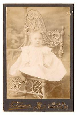 Crisfield Maryland*Md*Tilghman*Photographer*Cabinet Card*Baby On Ornate Chair