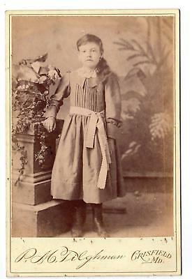 Crisfield Maryland*Md*P M Tilghman*Photographer*Cabinet Card*Girl*Dress & Boots