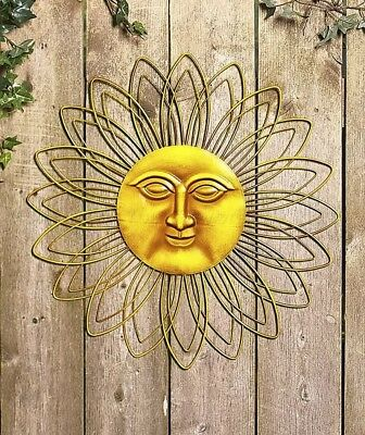 SUN FACE Rays Bronze Gold Green Metal Wall Art Hanging Patio Fence ...
