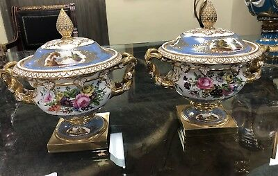 Pair Regency 19th Century Gilt Porcelian Covered Scenic Fruit Coolers Handles