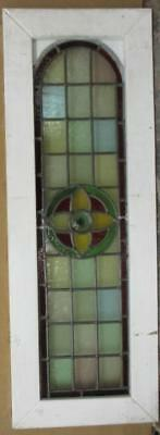 "LARGE OLD ENGLISH LEADED STAINED GLASS WINDOW Victorian Floral Arch 13"" x 37"""