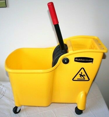 New Rubbermaid Professional Plus Quality Mop Bucket Yellow 28 Qt. Easy Lift
