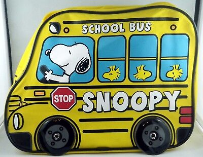 """12"""" Childs Peanuts Snoopy Woodstock Yellow School Bus Backpack"""