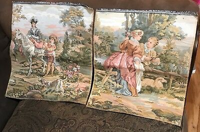 "Vintage French Aubusson tapestry.Wall hanging Two 17""x15 Each"