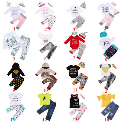 US Newborn Baby Boy Girl Cartoon Outfit Tops/Dress/Romper+Pants Leggings Clothes