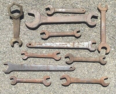 Old Vtg Antique Giant Large Wrench Industrial Repurpose Art Metal Tool Lot Of 11