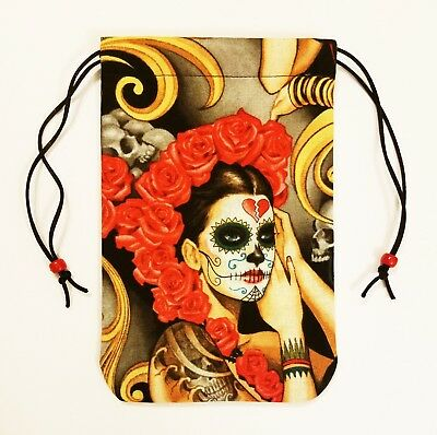 "Santa Muerte Tarot Bag Drawstring Pouch 5""x7""  lined, tarot or angel card decks"