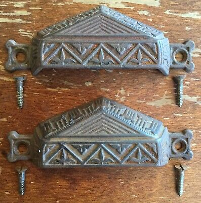 Old Vtg Antique Cast Iron Eastlake Victorian Drawer Pull Original Screw Pair Set
