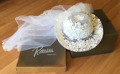 Old Vtg Wedding Bridal Veil Hat Rothschild'S Ithaca Ny Lace Netting Floral Bead