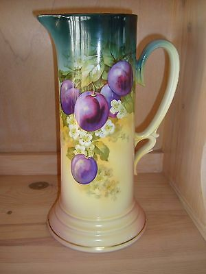 Antique Turin Bavaria Large Tankard Pitcher Vase, Plums, 12 1/2""