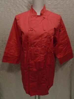 NWOT CHEF WORKS Women's Lightweight 3/4 Sleeve Coral Pink Chef Coat Size Small S