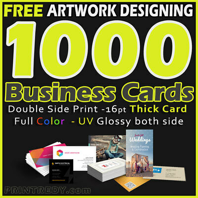 1000 Full Color Business Cards-2 Side Printing-Uv Coated Free Ship & Design