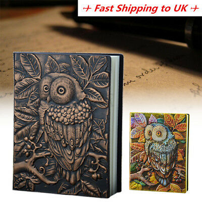 Vintage A5 Diary Journal Notebook Blank Book Owl Tree PU Leather Classic Cover