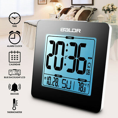 BALDR Digital LCD Backlight Calendar Snooze Alarm Clock Temperature Thermometer