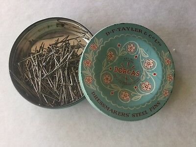ANTIQUE OLD VINTAGE RETRO SEWING CRAFT TIN DORCAS PINS for quilting patchwork