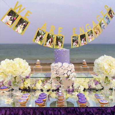 Festival Engagement Wedding Decor Gold We Are Engaged Photo Banner Bunting Party