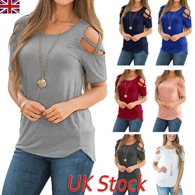 Womens Cold Shoulder T-Shirt Ladies Summer Casual Short Sleeve Tops Blouse 6-18