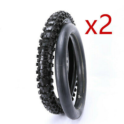 2x  90/100-18 Rear Tyre Tire +Inner Tube Pocket Bike Dirt Bike Off-road Knobbly