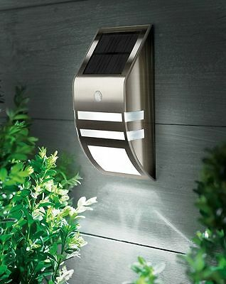 Stainless Steel Chrome Led Solar Security Light Outdoor Garden Wall Door Fence