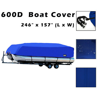 "17-20Ft 96""H Heavy Duty Fabric 600D Waterproof Trailerable Pontoon Boat Cover"