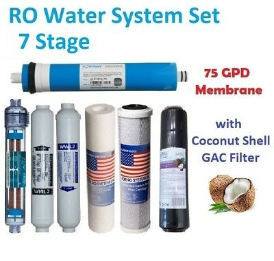 7 Stage Full RO Water Filter System Set 75GPD Membrane Coconut GAC Ionizing