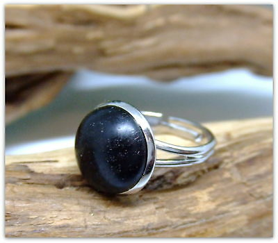 Platinum plated Ring inset with 5000 year old Irish Bog Oak wood special gift