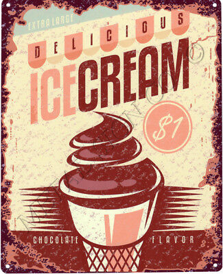DELICIOUS ICE CREAM  METAL SIGN VINTAGE STYLE SMALL coffee sweet shop cafe