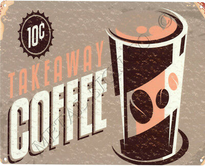 TAKEAWAY COFFEE  METAL SIGN VINTAGE STYLE SMALL coffee sweet shop cafe bar pub