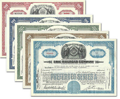 Set of 5 Colors Erie & Erie Lackawanna Stock Certificates Issued, RR Railroad EL