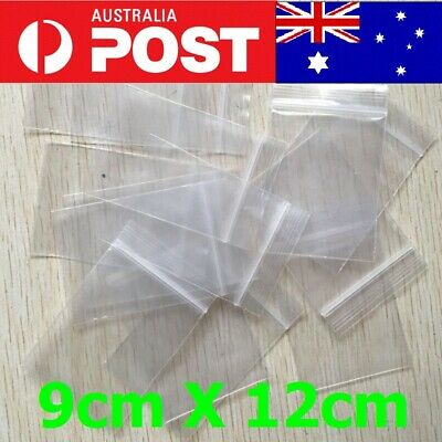 5-200pcs AU Zip Lock Plastic Bags Reclosable Resealable Zipper 9cmX12cm Thick