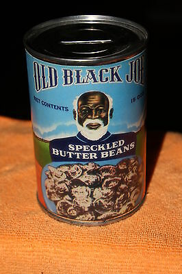 Vintage Black Americana Old Black Joe Speckled Butter Beans Can Bank with Key