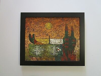 Mystery Artist Signed Jasper ? Mid Century Modern Abstract Expressionism Vintage