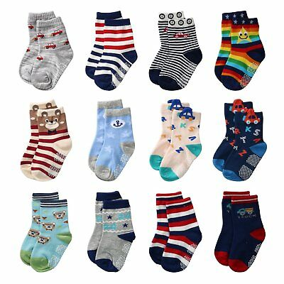 Baby Boys Anti Slip Socks Non Skid Soft Cotton Ankle Socks with Grip For 12-36