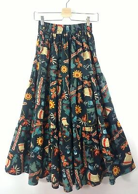 VTG 80s 50s Skirt Novelty Print Western Rockabilly Camping FULL TIERED XS S