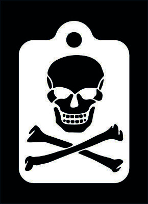 Skull and Cross Bones Face Painting Stencil 190 micron Washable Reusable Mylar