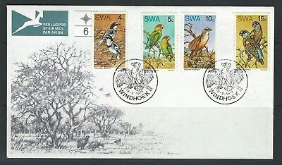 South West Africa - #363-#366 Rare Birds Set On First Day Cover + Insert (1974)