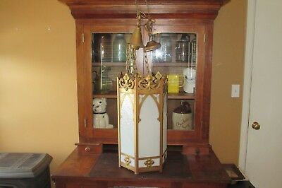 Antique Vintage NL Corp. Brass Hanging Gothic Pendant Church Light #3115