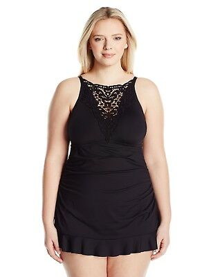 ee277f8a3a662 BECCA ETC Women s Plus Size Beauties Hight Neck One Piece Swimsuit with  Lace 2X