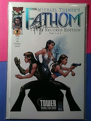 Fathom 1 Tower Records Foil signed Michael Turner  vf-nm