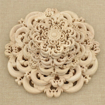 2 Pcs Vintage Floral Wood Carved Woodcarving Decal Applique Home Furniture Decor