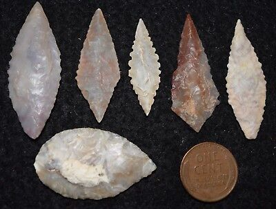 6 nice Sahara Neolithic ovate style projectile points