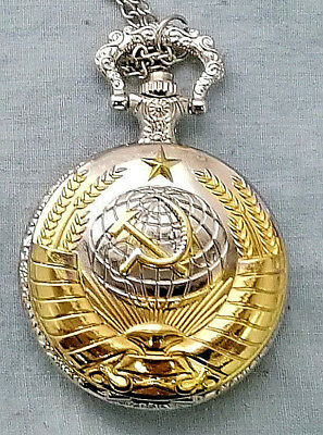 Russian Gold & Silver Pocket Watch CCCP Hammer Sickle Army Cold War Old KGB WW2