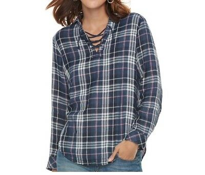 32c15c4aed8f2 WOMENS SONOMA M Plaid Shirt Blue Green Beige Button Down Top Blouse ...