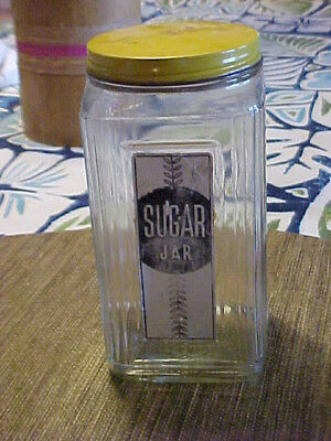 Vintage Old Antique 1910 Hoosier Sugar Jar With Label And Screw Lid