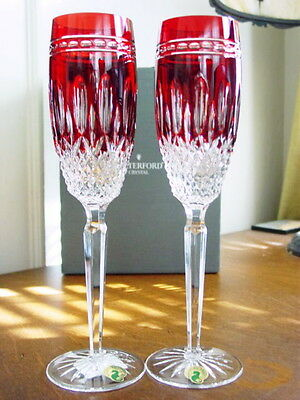 WATERFORD Crystal CLARENDON Ruby Red Flutes (2) NO LONGER MADE - NEW / BOX!