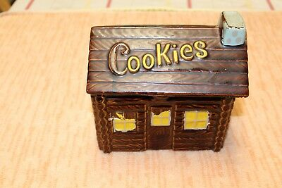 Vintage Dark  Brown Log Cabin Cookie Jar Nice