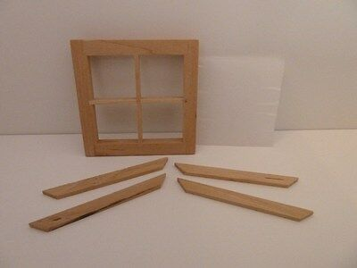 Dolls House Miniature 1:12th Scale Building Accessory 4 Pane Window & Perspex