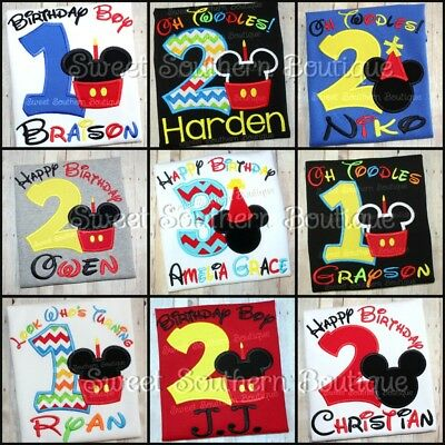 MICKEY MINNIE MOUSE Birthday Shirt Happy Party 1st First 2nd 1 2 3